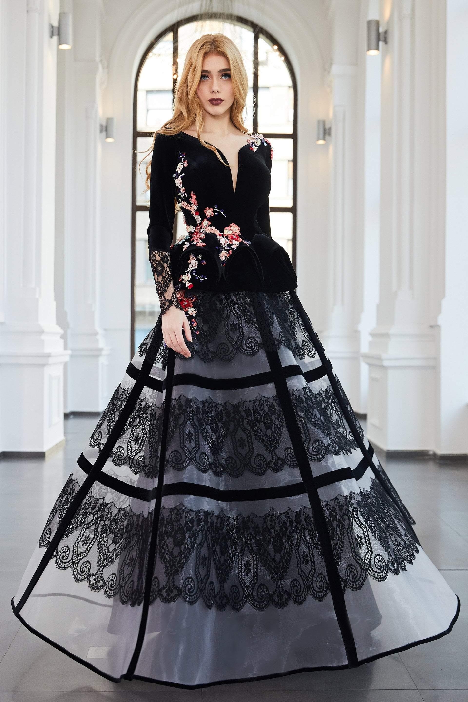 Cristallini - SKA955 Floral Embroidered Plunging V-Neck Gown