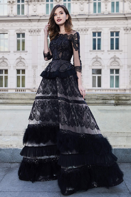 Cristallini - SKA957 Sequined Illusion Bateau A-Line Dress