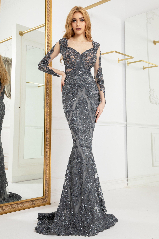 Cristallini - SKA958 Embroidered Long Sleeves Dress
