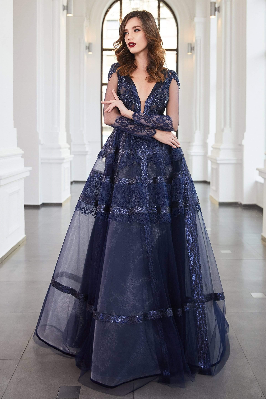 Cristallini - SKA961 Embellished Plunging V-Neck A-Line Gown