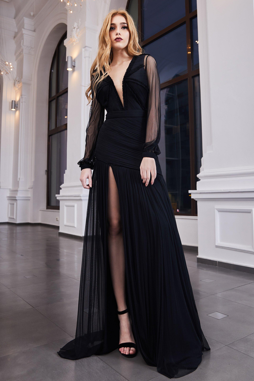 Cristallini - SKA963 Illusion Plunging Neck Plisse Tulle Evening Gown