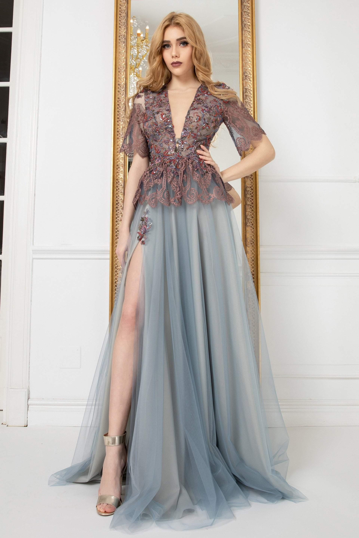 Cristallini - SKA972 Embellished Plunging V-Neck A-Line Dress