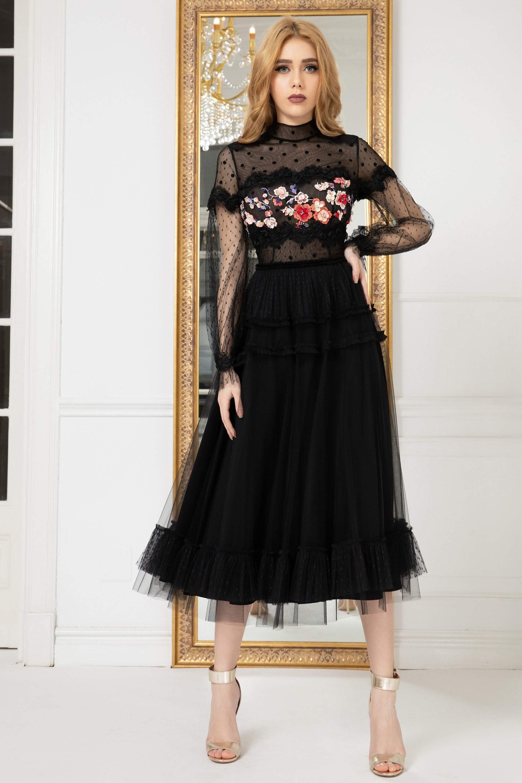 Cristallini - SKA973 Embroidered High Neck A-Line Dress