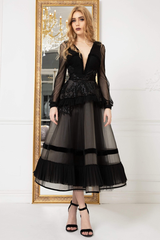 Cristallini - SKA979 Tea Length Plunging V-Neck Frilly Lace Dress