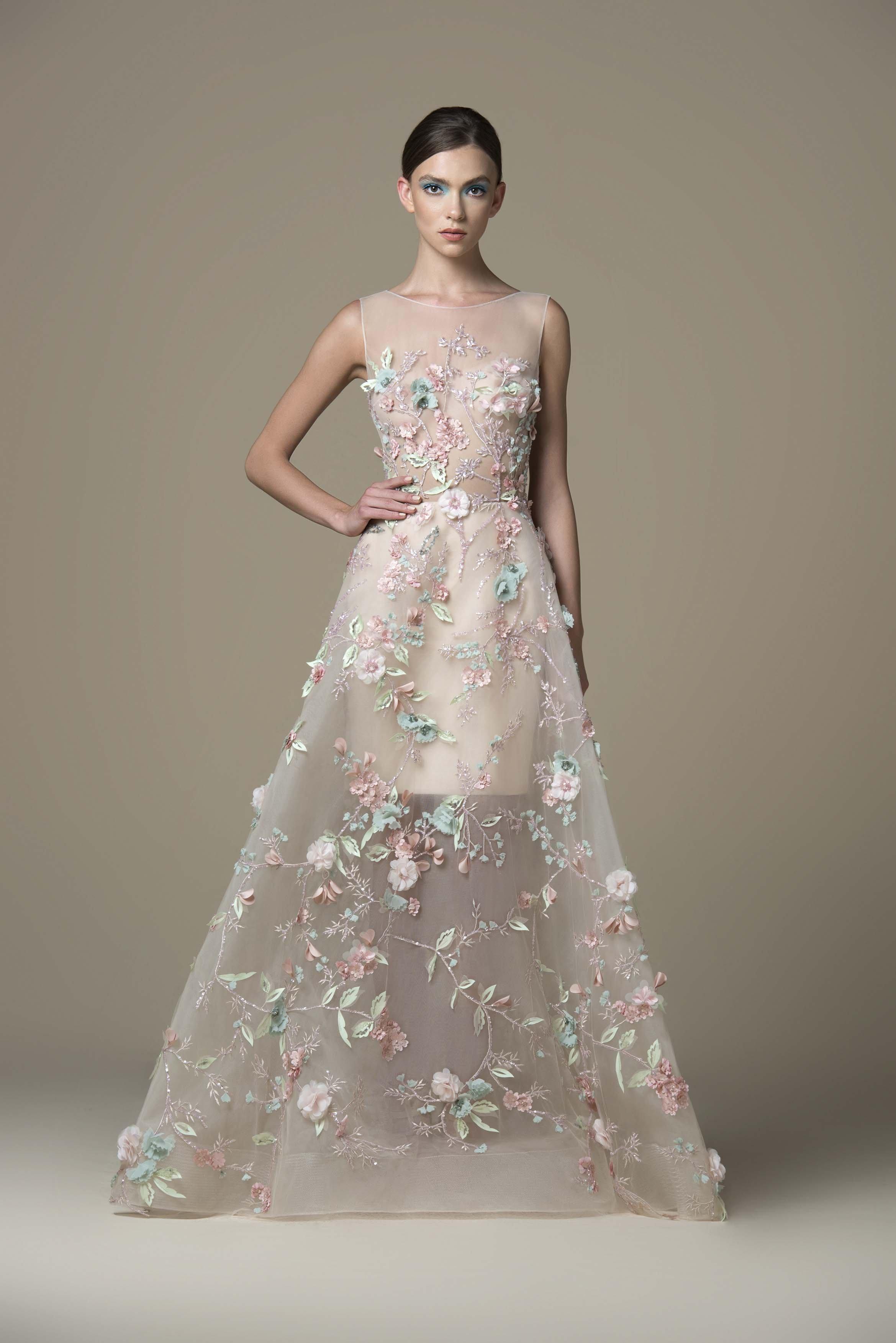 Saiid Kobeisy - RTWSS19-18 Floral Applique Bateau A-line Gown