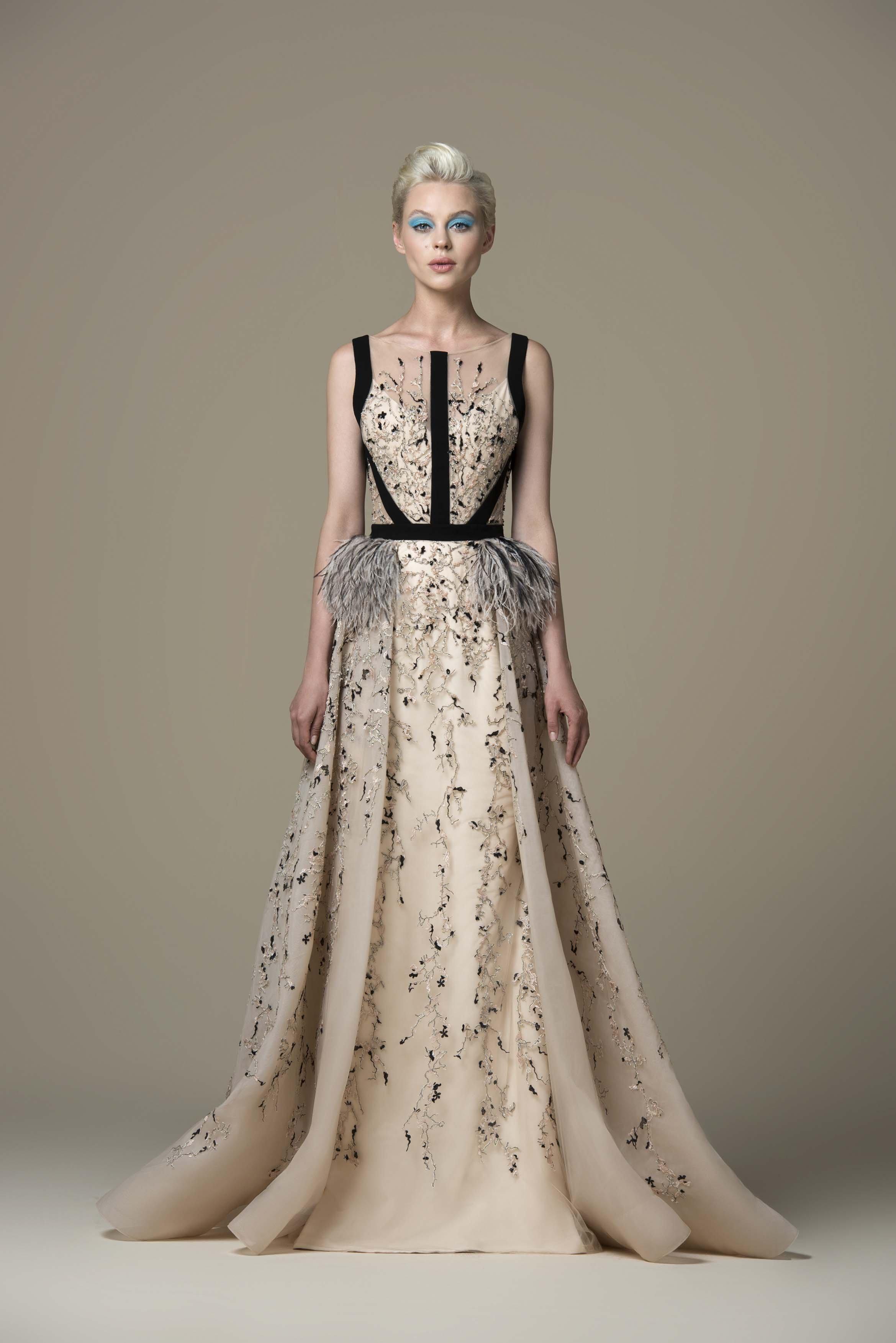 Saiid Kobeisy - RTWSS19-37 Embellished Bateau A-line Gown