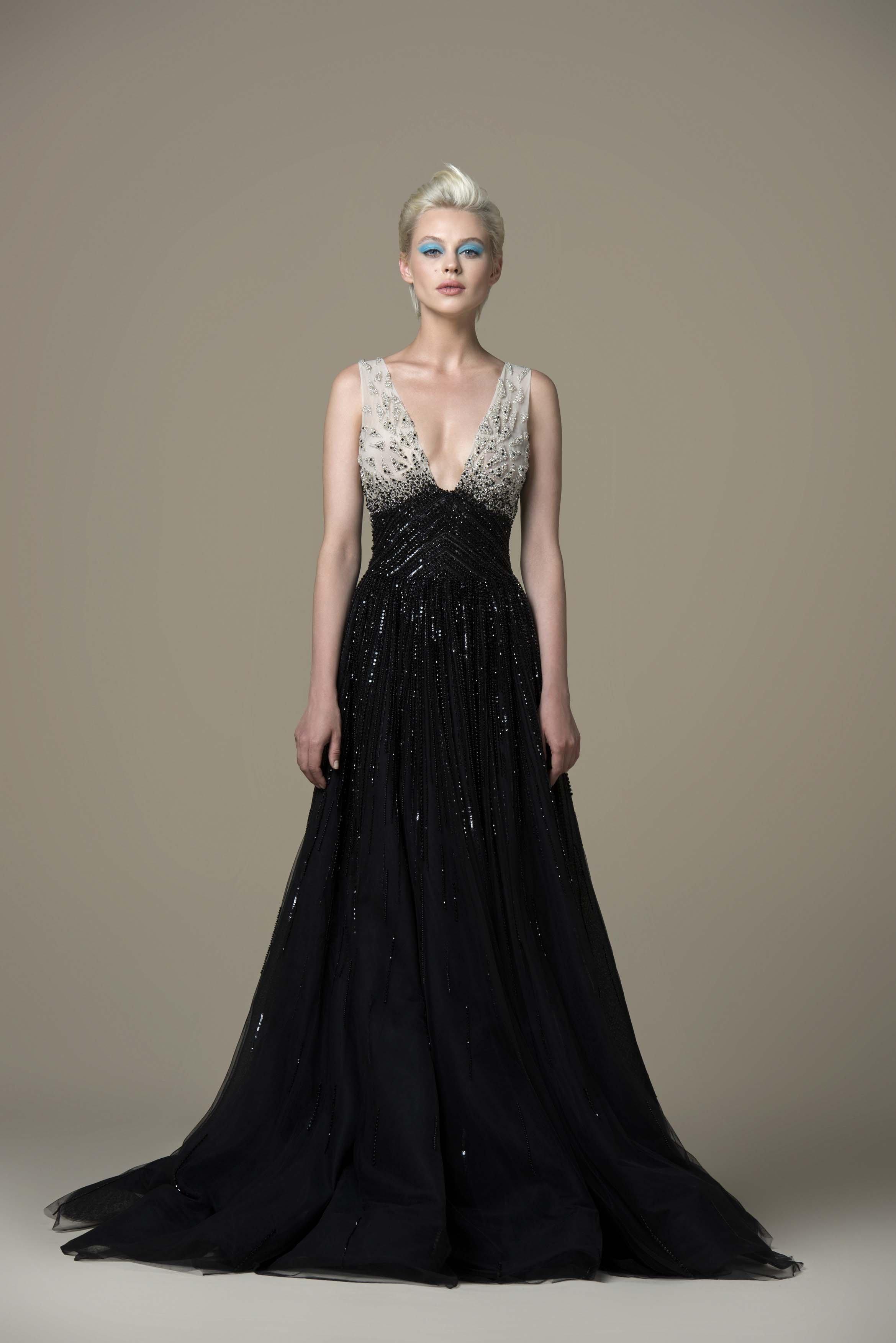Saiid Kobeisy - RTWSS19-43 Beaded Deep V-neck Tulle A-line Dress
