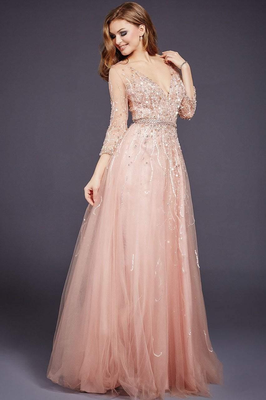 Jovani - 29084 Quarter Sleeve Ornate Illusion Tulle Gown