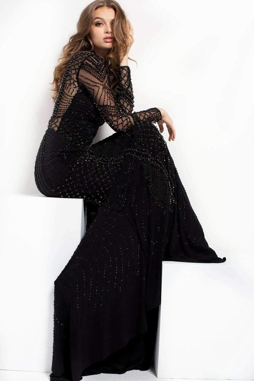 Jovani - 37545 High Illusion Geo-Beaded Gown