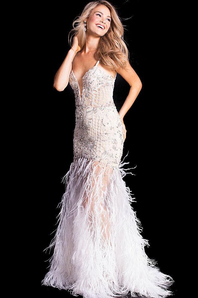 Jovani - 37604 Beaded Deep V-neck Feather Mermaid Dress