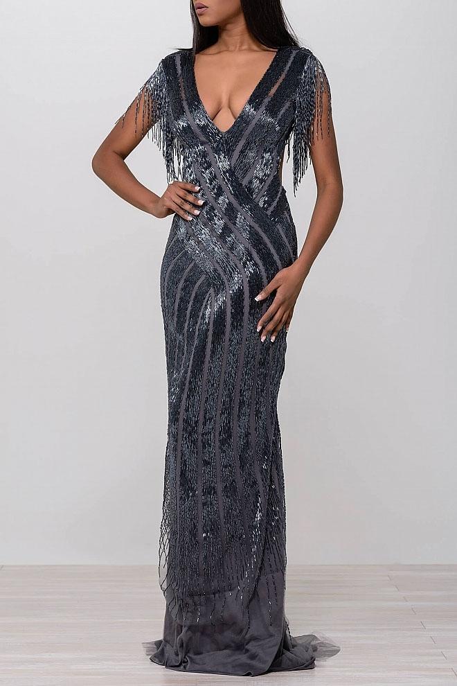 Jovani - 40900 Deep V-Neck Sheath Dress