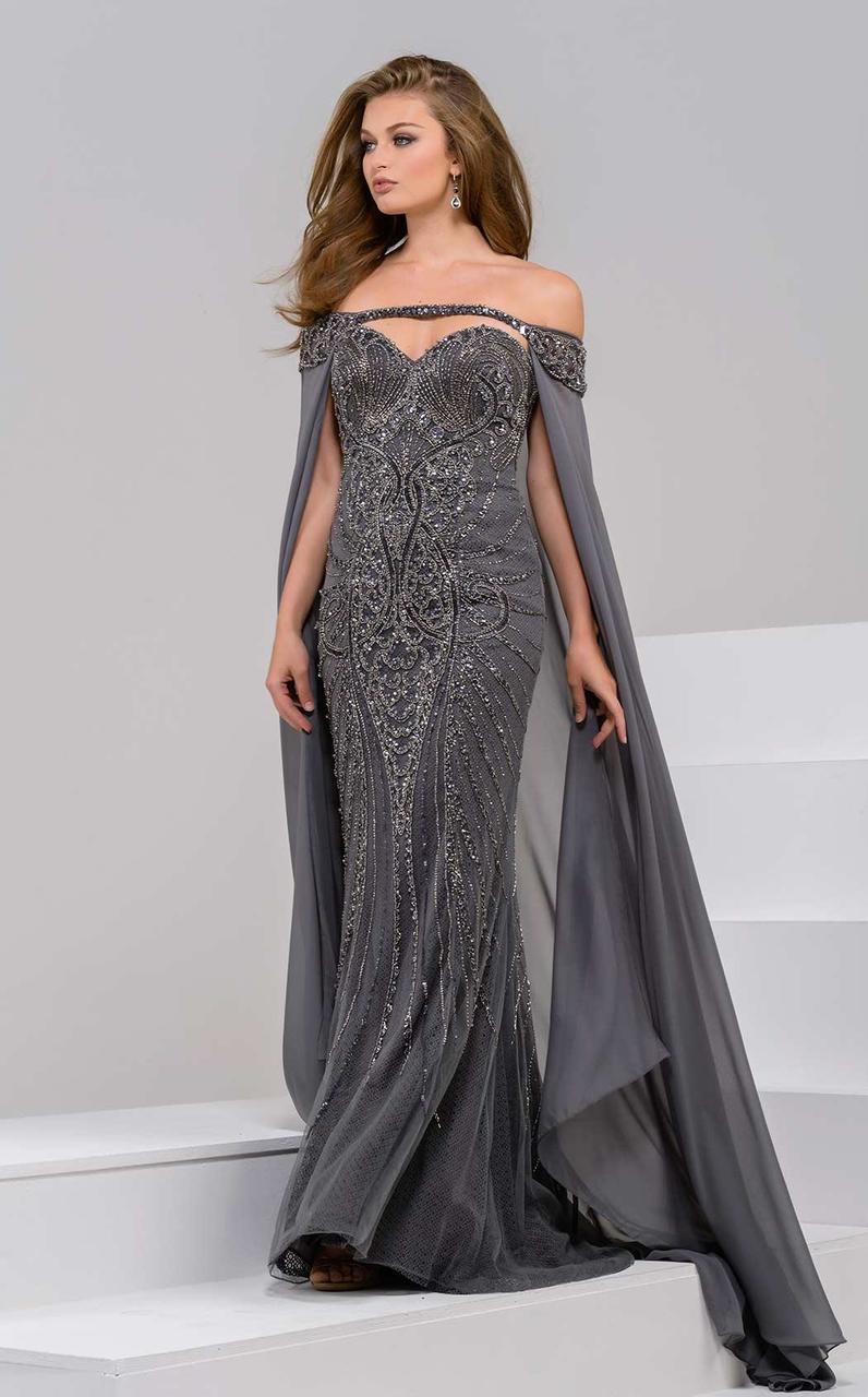 Jovani - 45566 Off Shoulder Sheath Dress