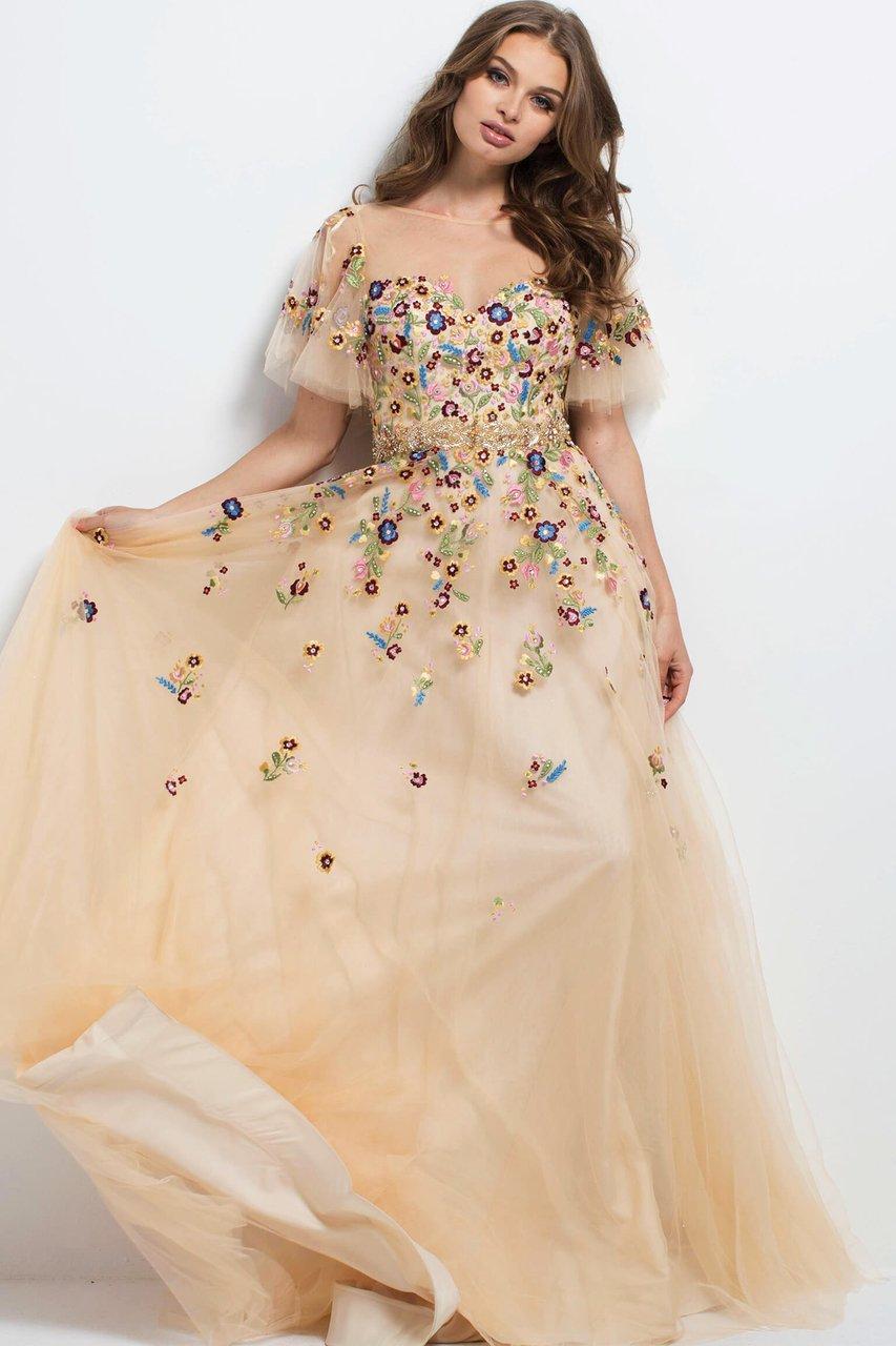 Jovani - 45820 Embroidered Illusion Bateau A-line Dress