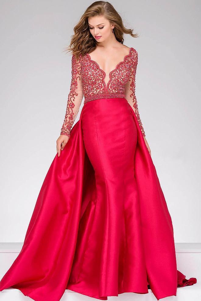 Jovani - 46708A Embellished V-neck Mermaid/A-line Dress