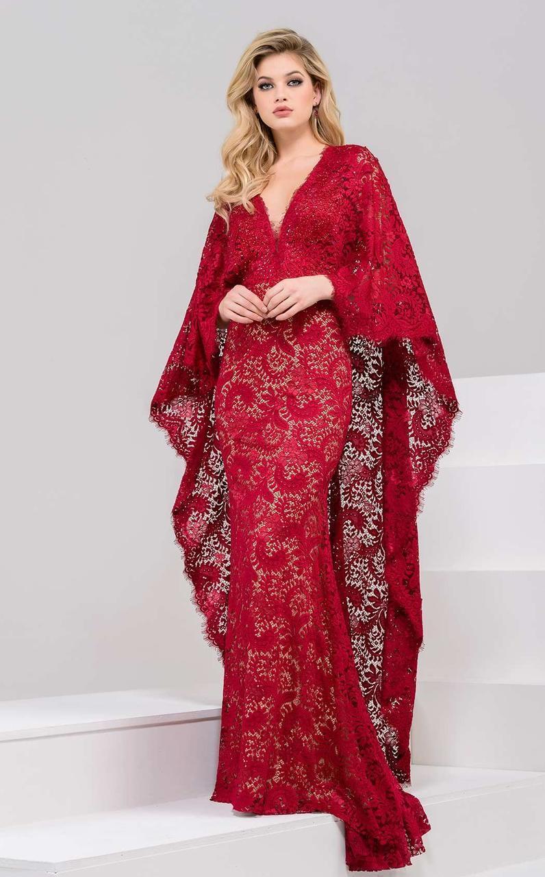 Jovani - 47202 Deep V-Neck Sheath Dress