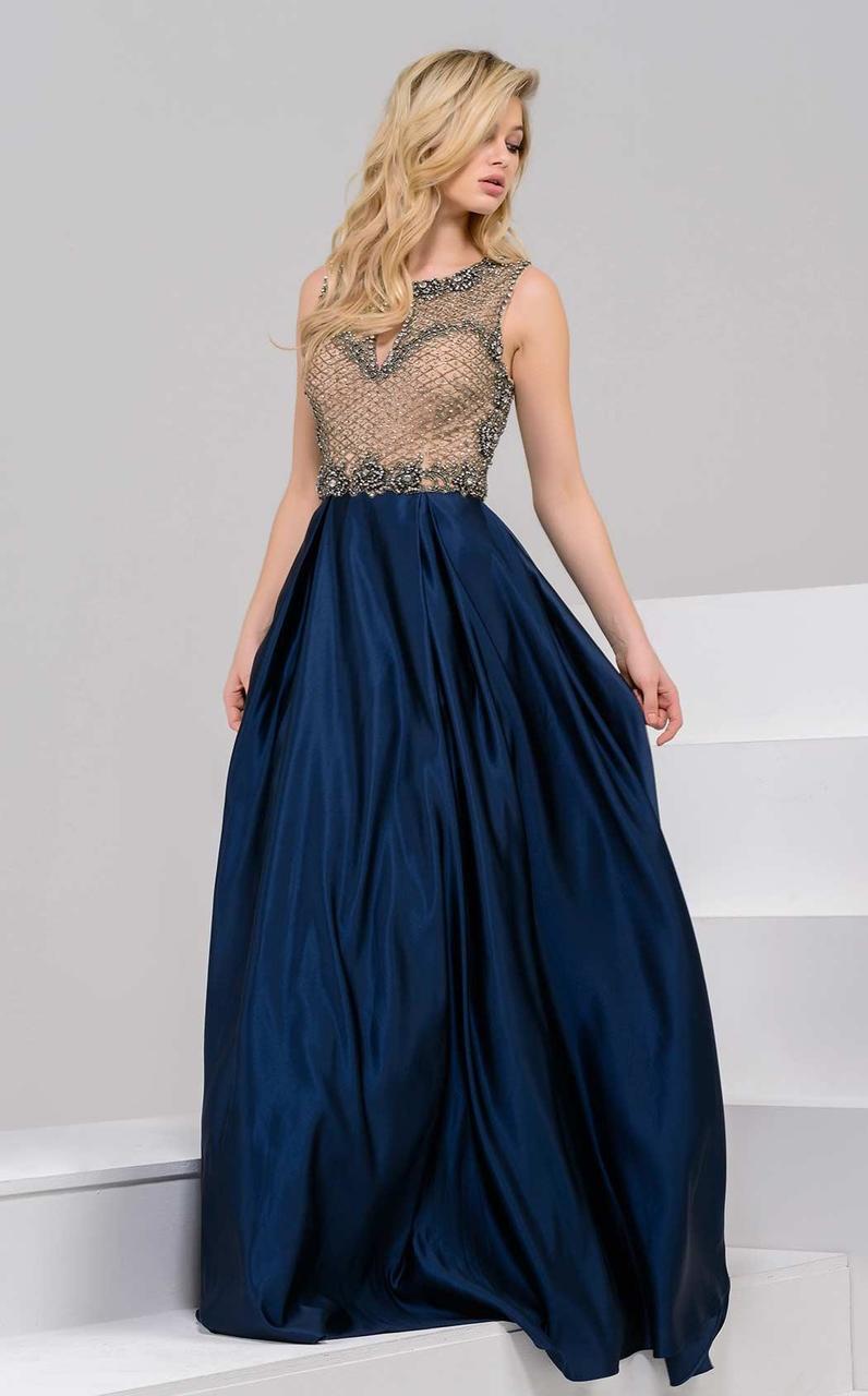 Jovani - 48285 Jewel Neck A-Line Dress