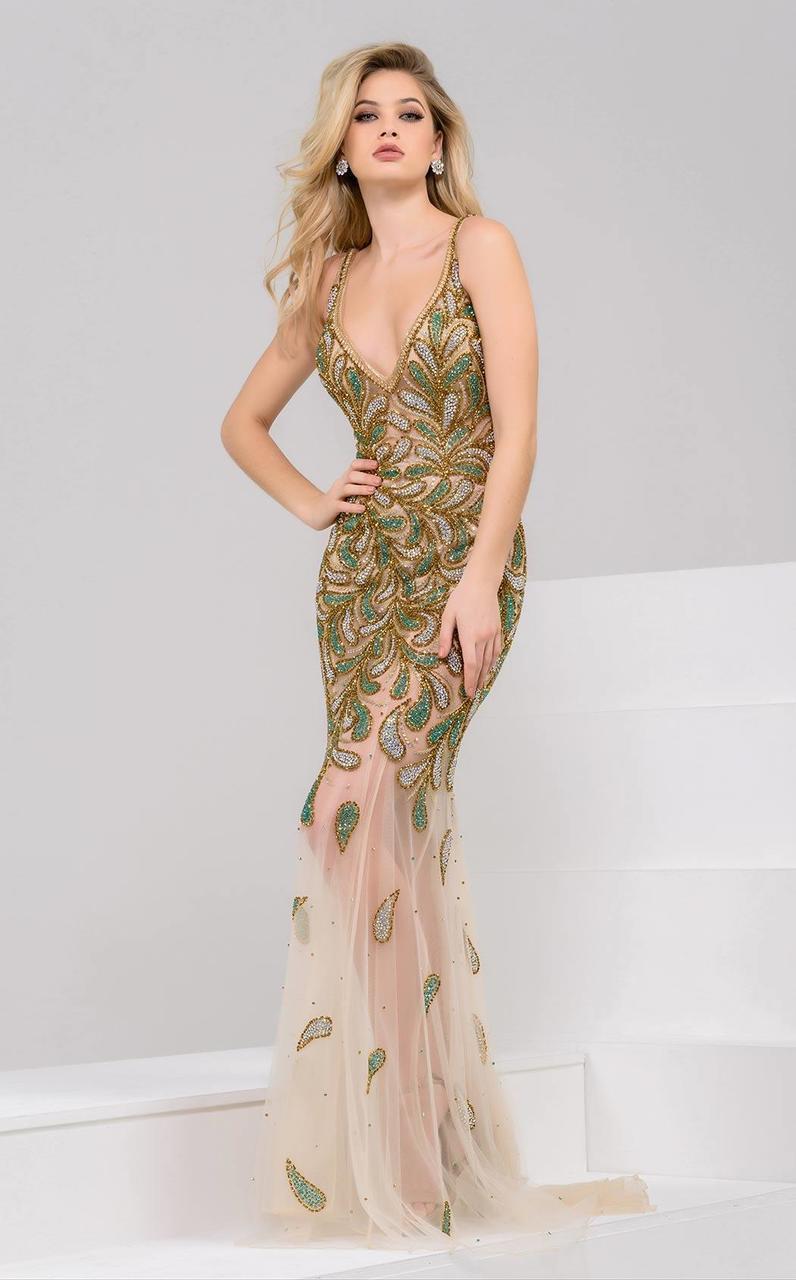 Jovani - 48955 Sheer Embellished Evening Dress