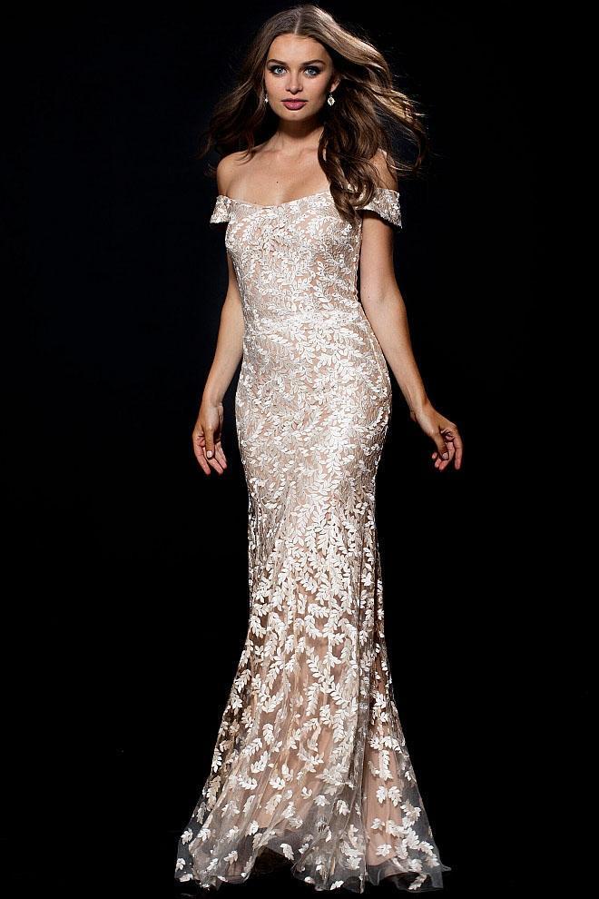 Jovani - 49634 Embroidered Off Shoulder Fitted Dress