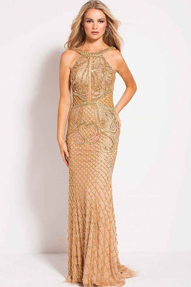 Jovani - 50127 Beaded Halter Neck Sheath Dress