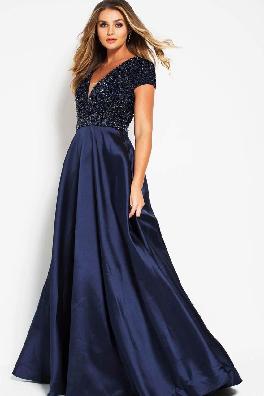 Jovani - 51546 Short Sleeve Deep Cutout Back Beaded Gown