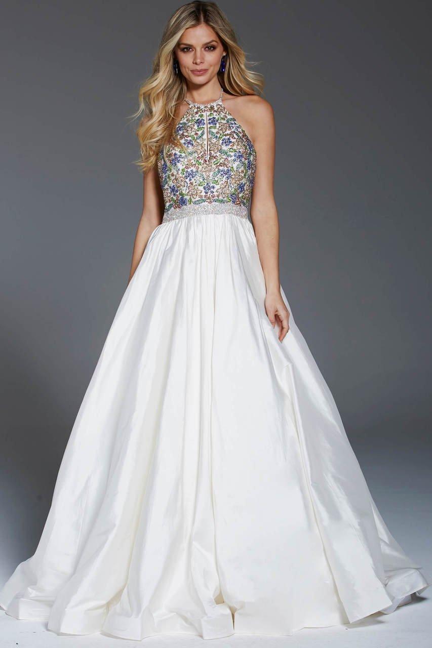 Jovani - 52177 Crystal Crusted High Halter Taffeta Gown