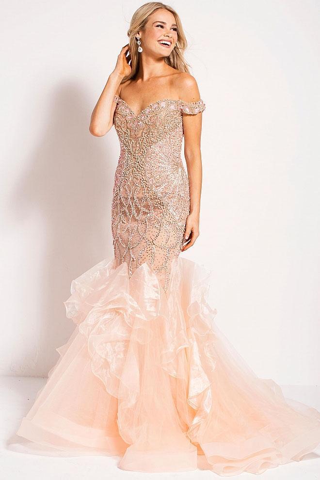 Jovani - 53396 Beaded Off-Shoulder Organza Mermaid Gown