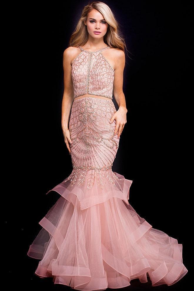Jovani - 54646 Beaded Halter Layered Tulle Mermaid Dress