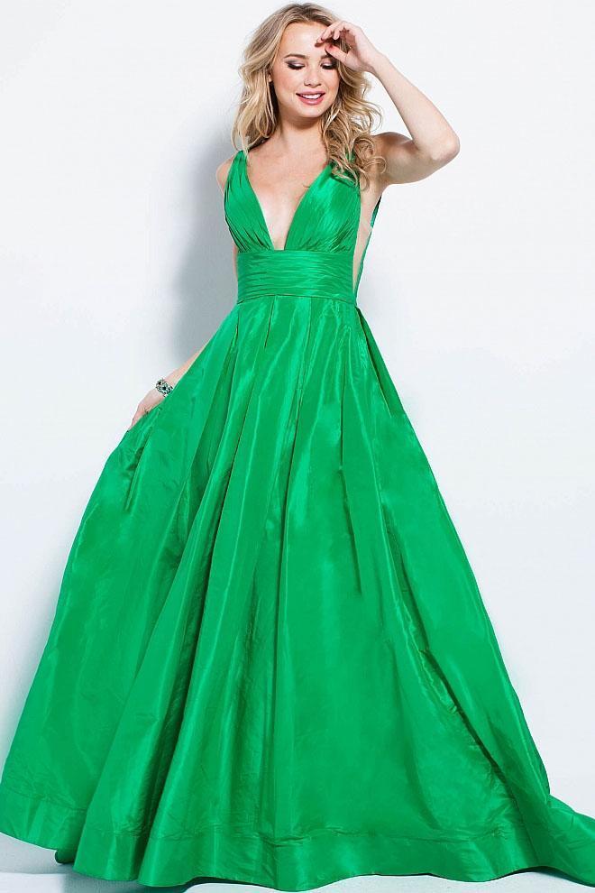 Jovani - 54812 Pleated Deep V-neck A-line Dress