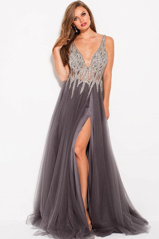 Jovani - 54873 Embellished Plunging V-neck A-line Dress