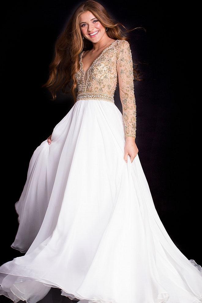 Jovani - 55207 Nude Lined Long Sleeve Chiffon A-line Dress