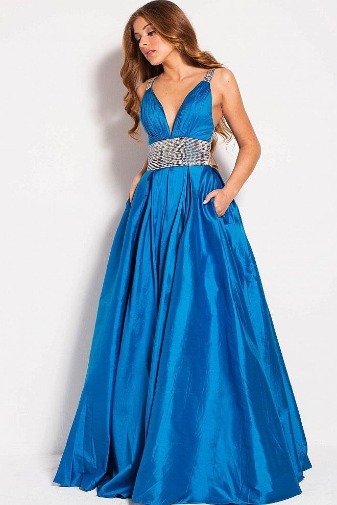 Jovani - 58600 Bedazzled Deep V-neck A-line Dress