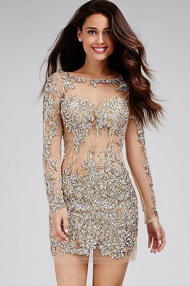 Jovani - 99022 Beaded Lace Sheer Long Sleeve Sheath Dress