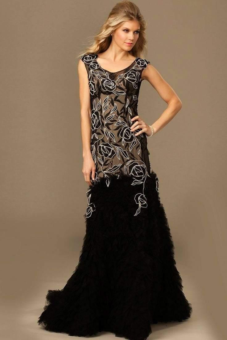 Jovani - Cap Sleeve A-Line Evening Gown 89396