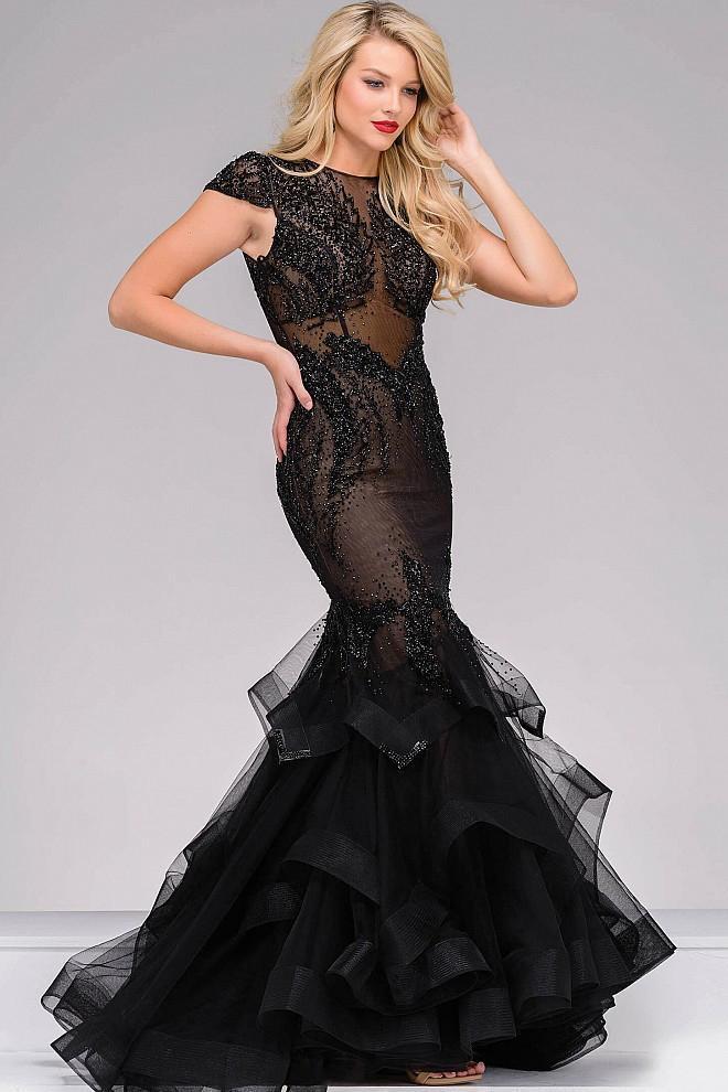 Jovani - Cap Sleeve Tiered Mermaid Dress 26947