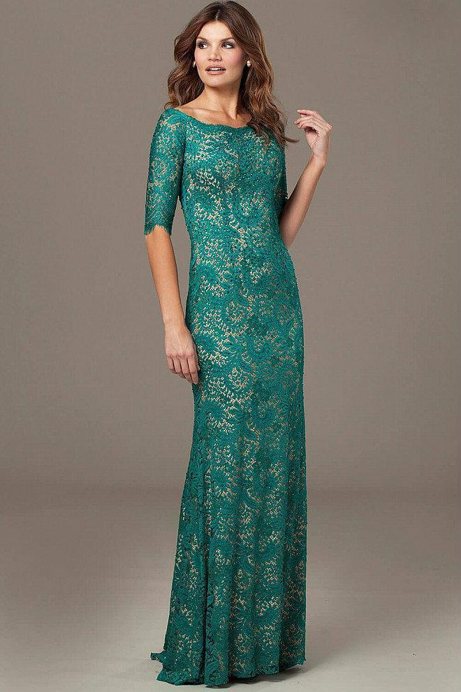 Jovani - Embellished Quarter Length Sleeve Bateau Neck Sheath Dress 25460