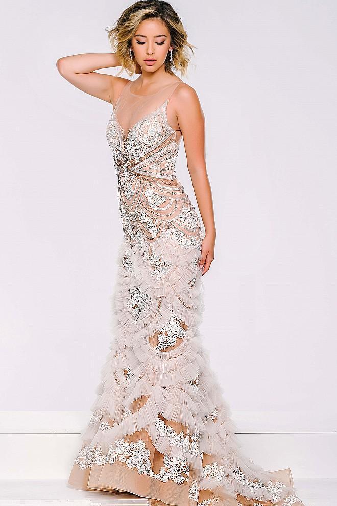 Jovani - Sheer Neckline Long Ruffled Dress 41592