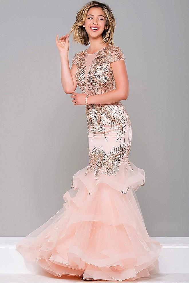 Jovani - Short Sleeve Embellished Mermaid Dress 47928