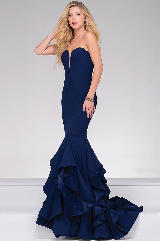 Jovani - Strapless Long Tiered Trumpet Prom Dress 31625