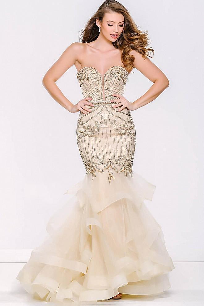 Jovani - Strapless Mermaid Tiered Skirt 36984