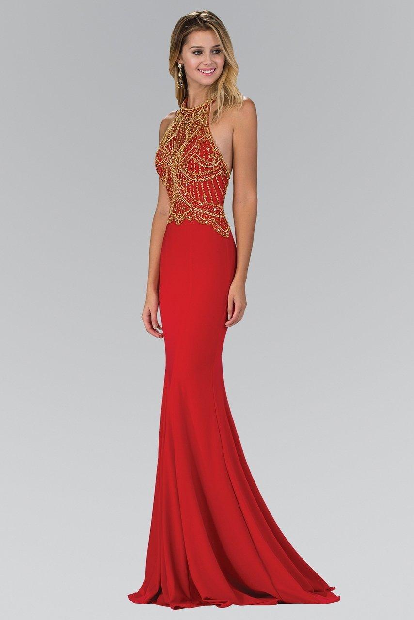 Elizabeth K - GL1301 Bead Embellished Halter Neck Trumpet Gown