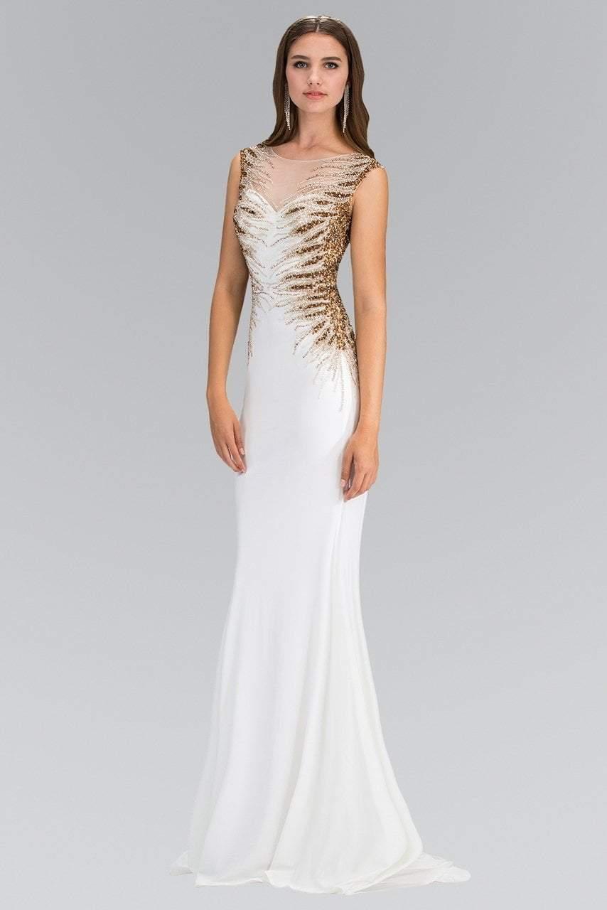 Elizabeth K - GL1306 Bead Embellished Boat Neck Jersey Gown