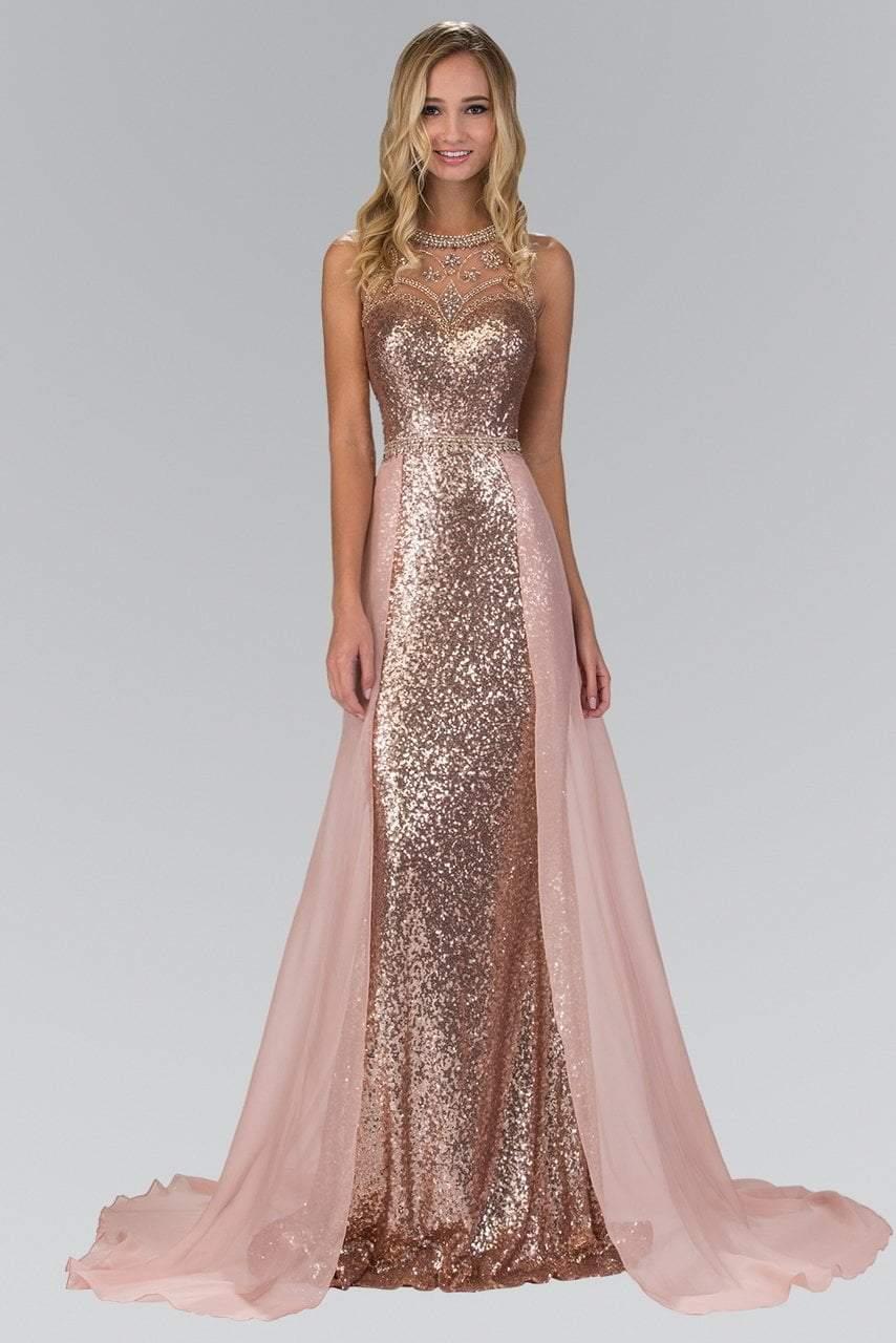 Elizabeth K - GL1400 Sequined Illusion Jewel Neck A-Line Gown