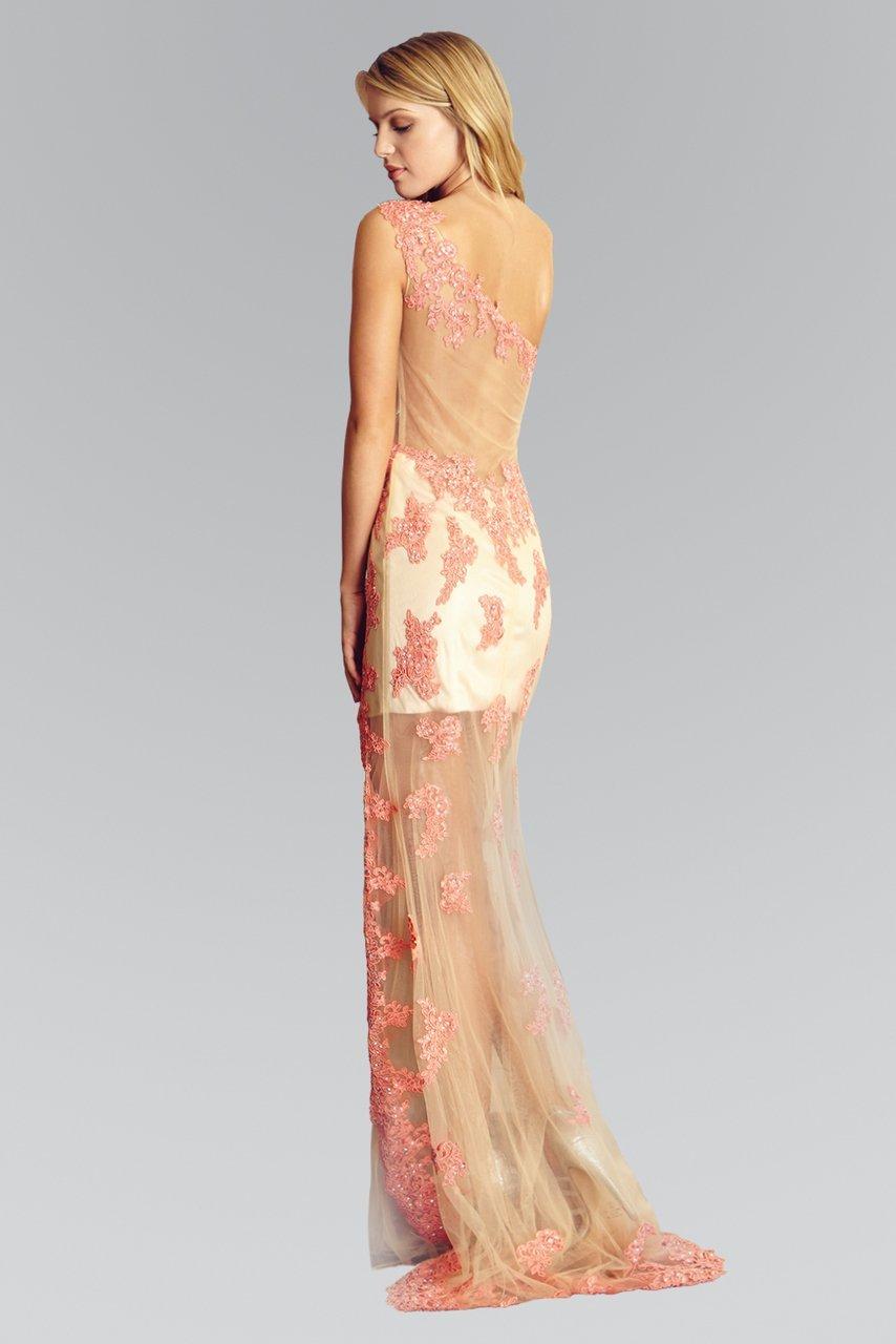 Elizabeth K - GL2051 Laced Asymmetrical Neck Mesh Gown