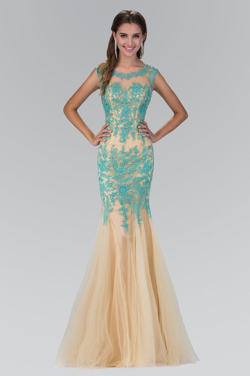 Elizabeth K - GL2054 Laced Bateau Neck Trumpet Gown