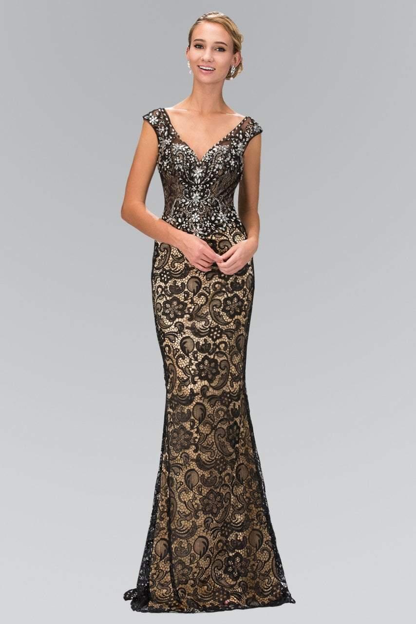 Elizabeth K - GL2059 Jeweled V-Neck Gown
