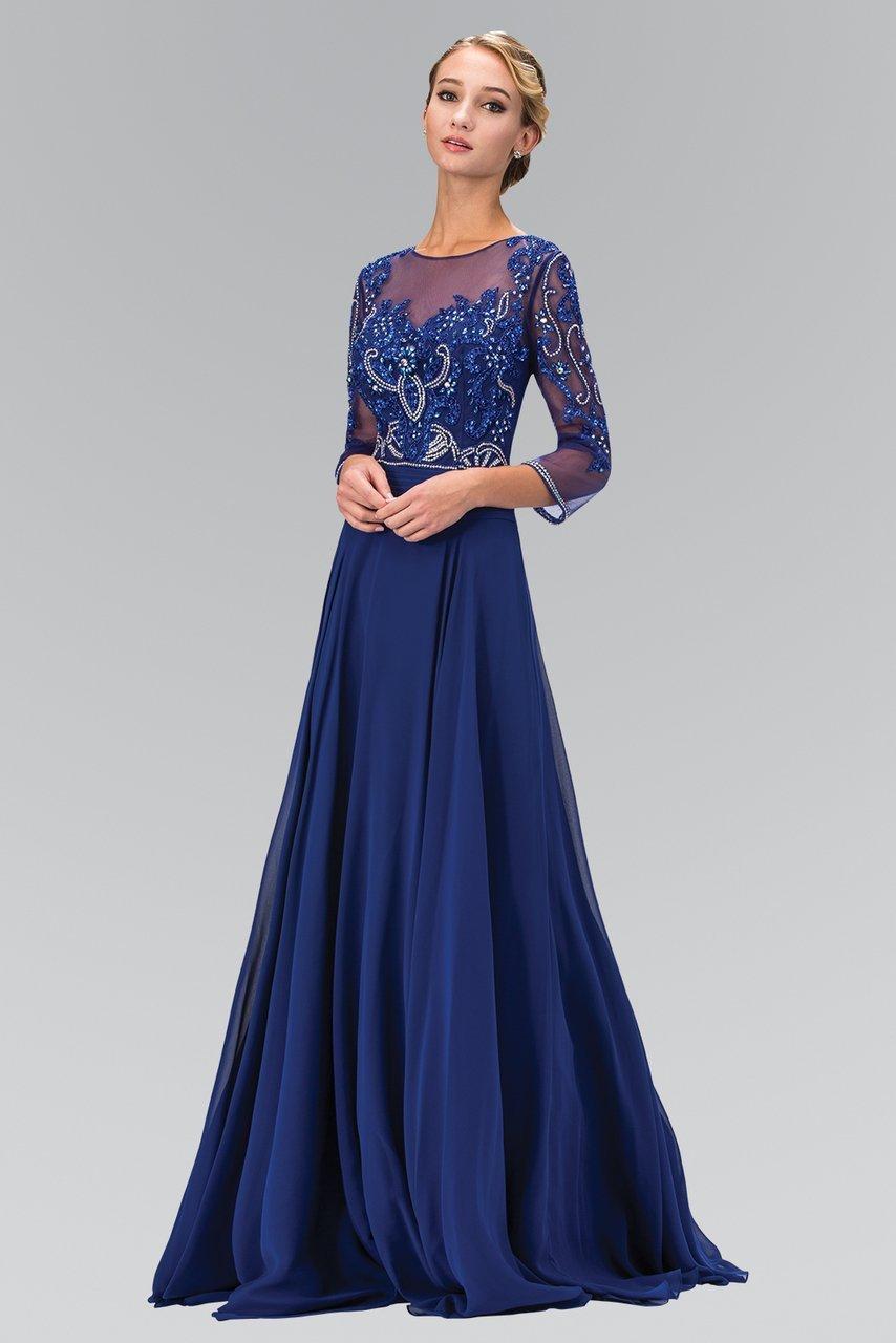 Elizabeth K - GL2127 Bead Embellished Bateau Neck Chiffon Gown