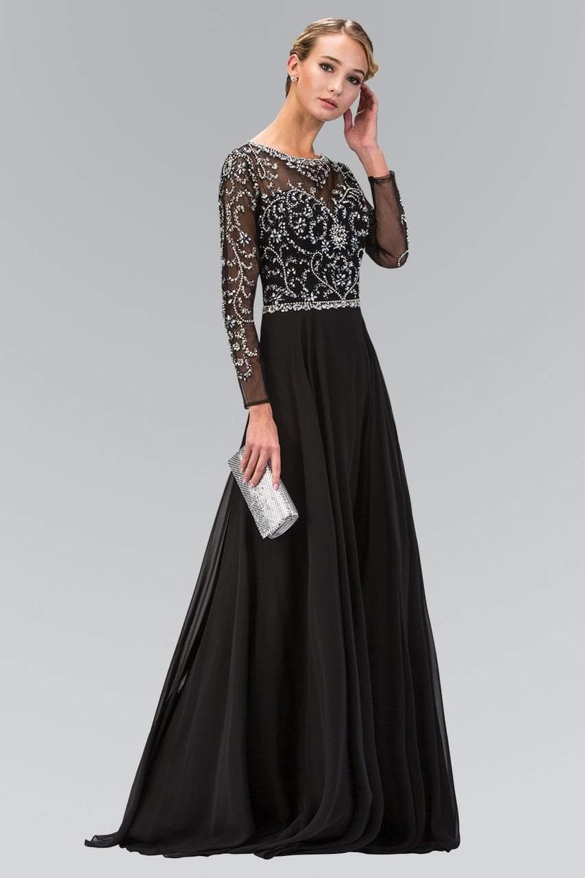 Elizabeth K - GL2129 Jewel Embellished Bateau Neck Gown