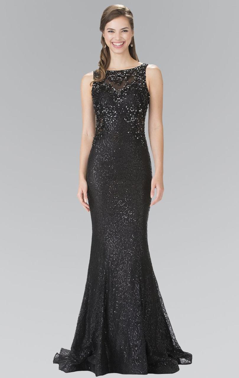 Elizabeth K - GL2268 Embellished Bateau Neck Lace Trumpet Dress