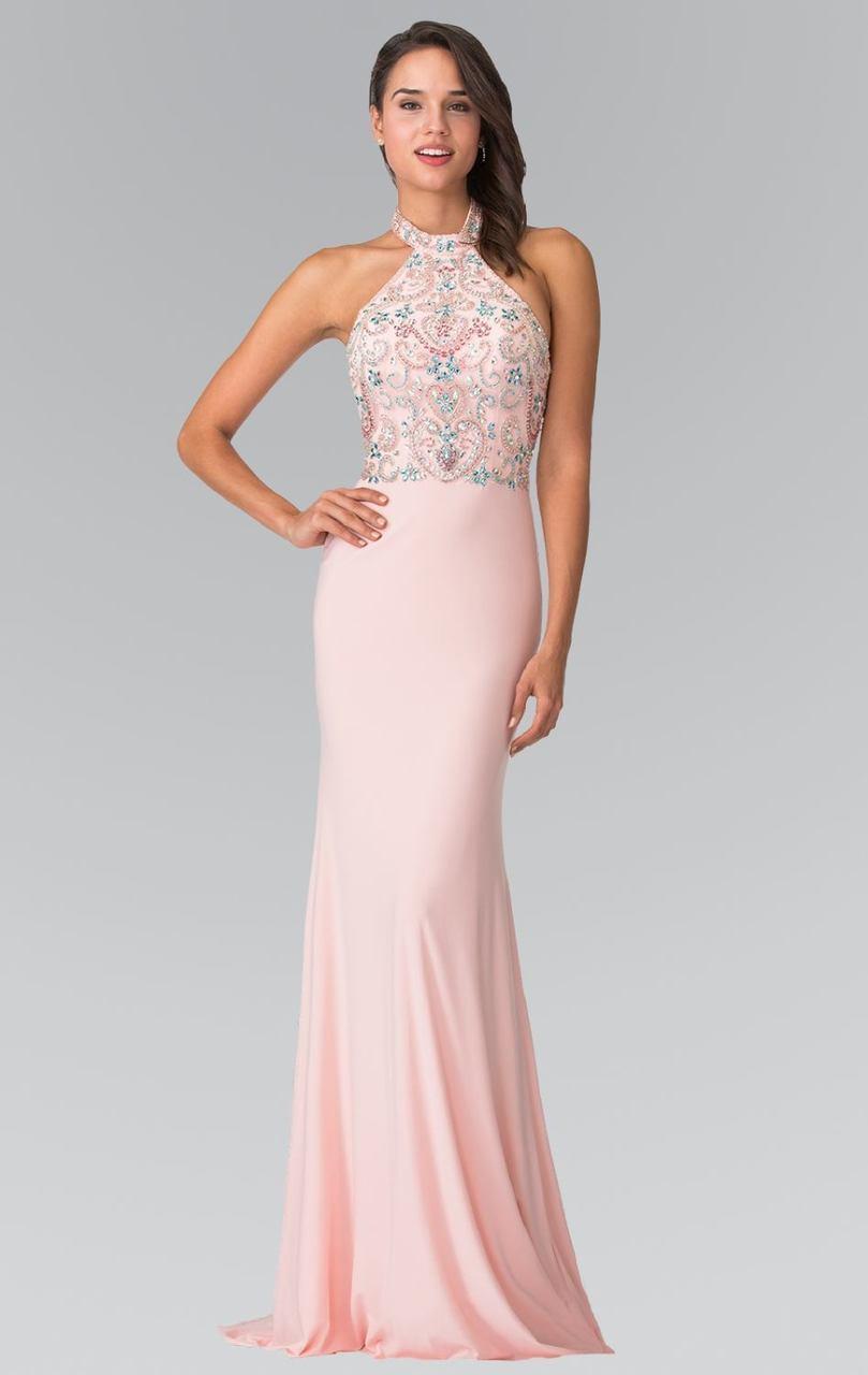 Elizabeth K - GL2279 Beaded Halter Neck Rome Jersey Sheath Dress