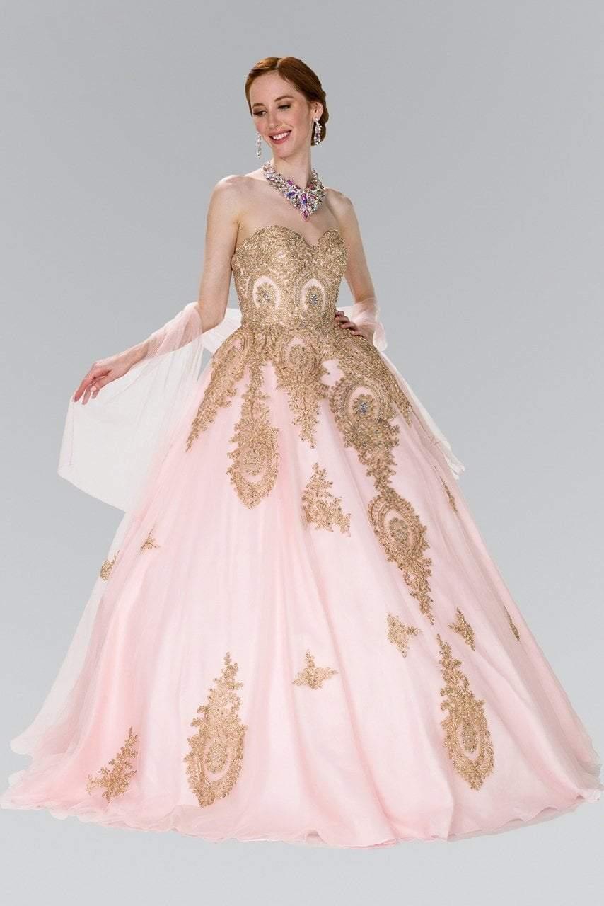 Elizabeth K - GL2379 Strapless Sweetheart Gilt Lace Ballgown